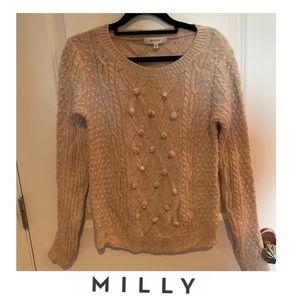 Milly Rainbow Spotted Cream Pom Pom Sweater